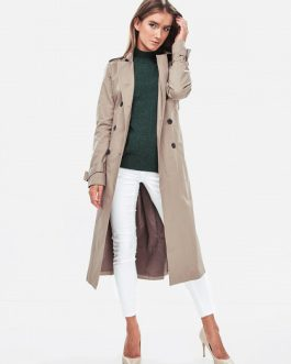 27003702 NMJENNY LS LONG TRENCHCOAT NOOS TAUPE GRAY